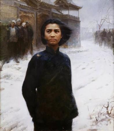身穿黑色衣服的刘胡兰,她生于1932年