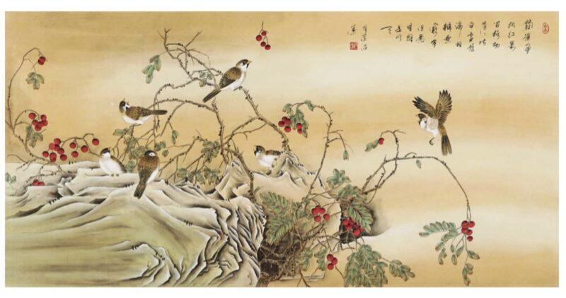 刘蒙将军书画作品《斗雀图》