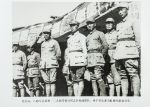 北方局、八路军总部和一二九师等领导同志在检阅部队。举手答礼者为彭德怀副总司令。